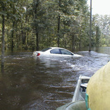 Car through Flooded waters